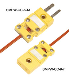 SMPW-CC Series:Thermocouple Connector Miniature Size Flat 2 Pin includes Integral Cable Clamp Cap